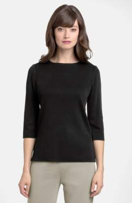 Ming Wang Three Quarter Sleeve Crewneck Knit Shell