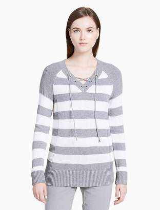 Calvin Klein striped v-neck lace-up sweater