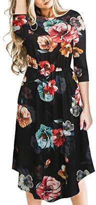 Fantaist Women's Winter 3/4 Sleeve Holiday Party Pleated Floral A Line Dress (L, )