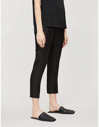 Isabel Benenato High-rise linen and silk-blend jacquard tapered trousers