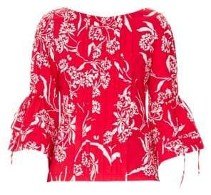 Carolina Herrera Floral-Print Pintuck Bell-Sleeve Top
