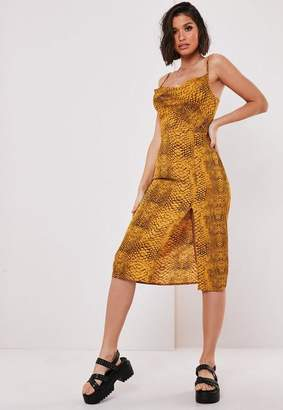 Missguided Yellow Snake Print Cowl Midi Slip Dress