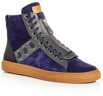 Bally Men's Hekem Lace Embellished Suede High Top Sneakers