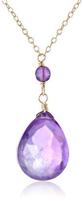 Gold-Plated Sterling Silver Cubic Zirconia Bezels and Amethyst Pear-Shape Pendant Necklace
