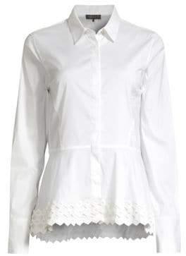 Donna Karan Women's Point Collar Lace Peplum Blouse - White - Size XL