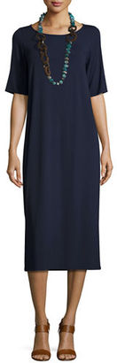 Eileen Fisher Half-Sleeve Jersey Midi Dress $188 thestylecure.com