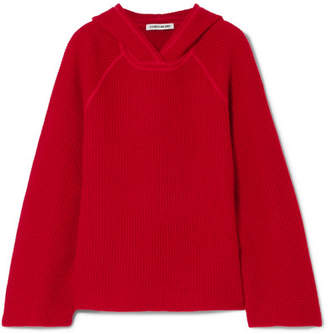 Elizabeth and James Tristan Hooded Waffle-knit Cashmere Sweater - Red
