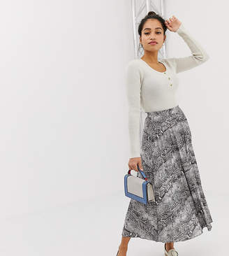 Asos DESIGN Petite pleated midi skirt in snake print
