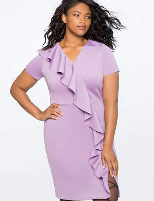 ELOQUII Shift Dress with Oversized Ruffle Cascade