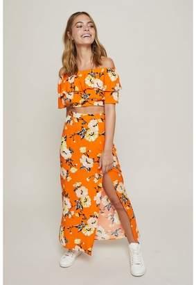 Miss Selfridge Petite orange floral print maxi skirt