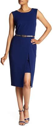 Connected Apparel Contemporary Belted Sheath Dress