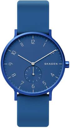 Skagen Unisex Aaren Aluminum Blue Silicone Strap Watch 41mm