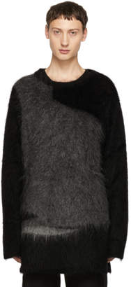 Yohji Yamamoto Black and Grey Mohair Crewneck Sweater