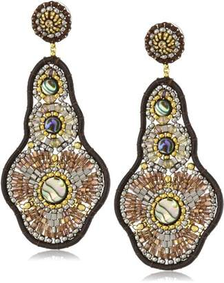 Miguel Ases Leather and Abalone Large Drop Earrings
