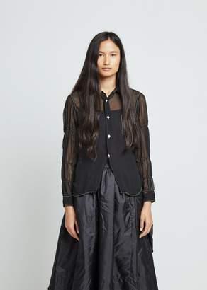 Comme des Garcons Georgette Garment Treated Button Front Top