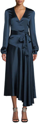 A.L.C. Darby Asymmetric Long-Sleeve Silk Wrap Dress
