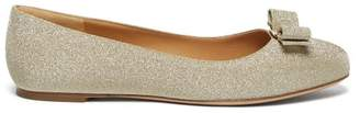 Salvatore Ferragamo Varina Glittered Leather Ballet Flats - Womens - Gold