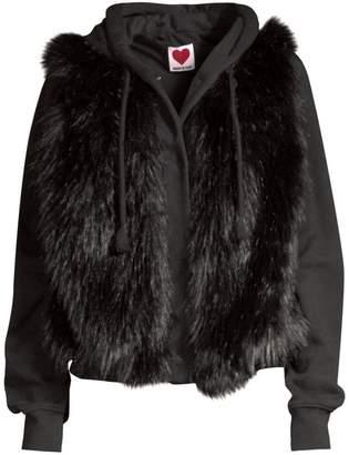 House Of Fluff Hooded Faux Fur Sweatshirt Jacket