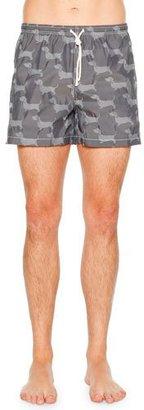 Thom Browne Hound Dog Printed Swim Trunks, Navy $290 thestylecure.com