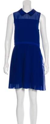 Timo Weiland Pleated Mini Dress Blue Pleated Mini Dress