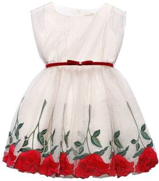 MonnaLisa Roses Embroidered Swiss Dot Tulle Dress
