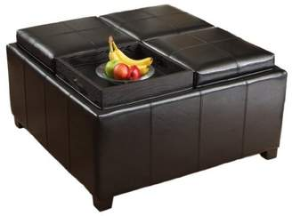 Durango Great Deal Furniture Four Sectioned Black Leather Cube Storage Ottoman