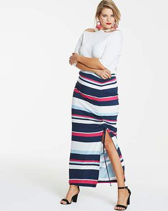 Fashion World Navy Stripe Ruched Front Maxi Skirt