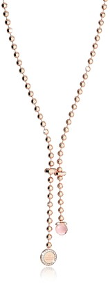 Rebecca Boulevard Stone Rose Gold Over Bronze Necklace w/Hydrothermal Pink Stone and Pendant Charm
