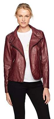Moto Sebby Collection Women's Asymmetrical Faux Leather Jacket