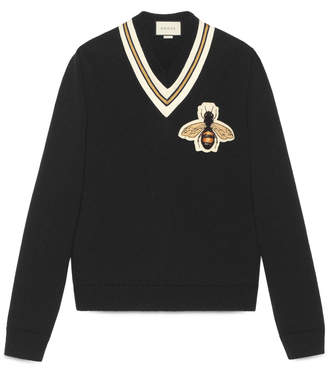 Wool sweater with bee appliqué $980 thestylecure.com