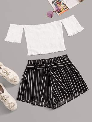 Shein Off Shoulder Shirred Lettuce Frill Crop Top With Striped Self Tie Shorts