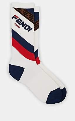 "Fendi Men's Mania"" Cotton-Blend Mid-Calf Socks - White Pat."