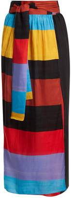 Mara Hoffman Cora tie-waist striped wrap skirt