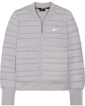 Nike Aeroloft Perforated Quilted Dri-fit Shell And Stretch-jersey Down Jacket - Gray