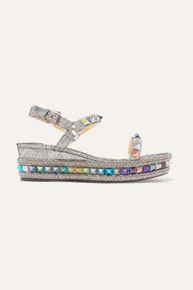 Christian Louboutin Pyraclou 60 Spiked Metallic Cracked-leather Wedge Sandals - Silver