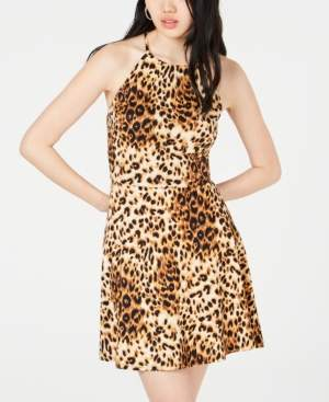 BCX Juniors' Animal-Print Strappy-Back Dress