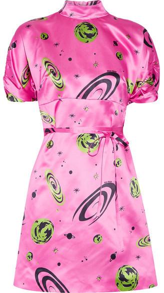 Miu MiuMiu Miu - Printed Silk-satin Mini Dress - Pink