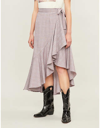 Paper London Lagos high-waisted ruffled woven skirt