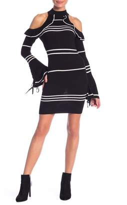 Wow Couture Striped Knit Cold Shoulder Dress