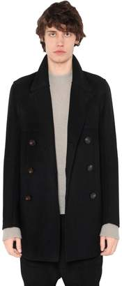 Rick Owens Double Breasted Wool Blend Peacoat