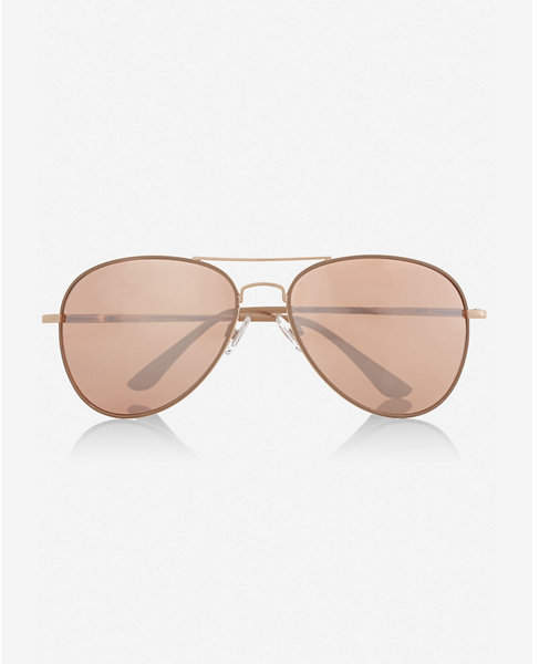 Express mirrored rose gold lens aviator sunglasses