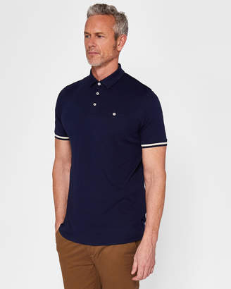 Ted Baker PUGGLTT Striped cuff cotton polo shirt