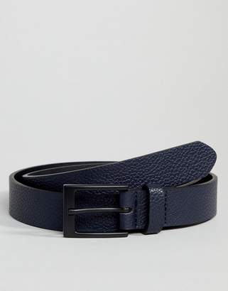 Asos Smart Slim Belt With Pebble Grain Emboss In Navy Faux Leather