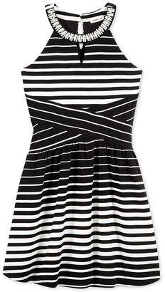 Monteau Embellished Striped Dress, Big Girls (7-16) $58 thestylecure.com