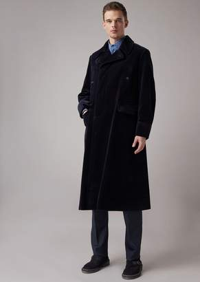 Giorgio Armani Double-Breasted Oversized Coat In Solid, Garment-Washed Flocked Denim
