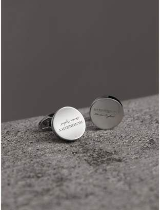 Burberry Engraved Motif Round Cufflinks