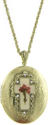 1928 SYMBOLS OF FAITH 1928 Symbols Of Faith Religious Jewelry Womens Oval Locket Necklace