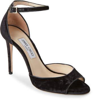 Jimmy Choo Black Annie Velvet Ankle Strap Sandals