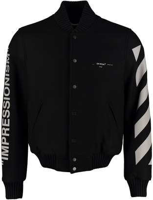 Off-White Off White Printed Wool Bomber Jacket