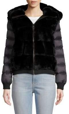 Hooded Rabbit Fur Down Jacket